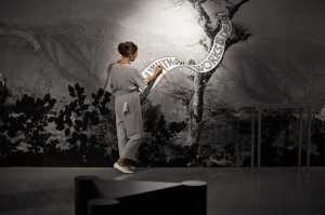 performance during the preview of the exhibition Tear Down and Rebuild at the Salon of the Museum of Contemporary Art Belgrade. Performers in the exhibition: Slavica Dolašević, Marija Jevtić, Sonja Radaković, Emilija Rodojičić and Danica Tesić.