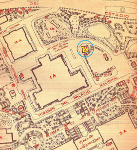 Barcelona EXPO, 1929 site plan and the pavilion's position source: Technical Museum of Serbia, Belgrade